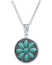 Macy's | Metallic Manufactured Turquoise Flower Pendant Necklace In Sterling Silver | Lyst