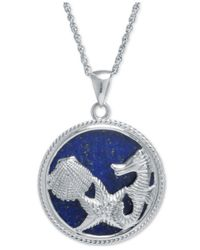 Macy's | Metallic Manufactured Lapis Sea-life Pendant Necklace In Sterling Silver | Lyst