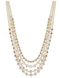 INC International Concepts - Metallic Gold-tone Multi-row Bead And Crystal Statement Necklace, Only At Macy's - Lyst