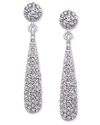 INC International Concepts | Metallic Silver-tone Teardrop Pave Drop Earrings, Only At Macy's | Lyst