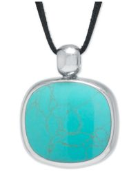 Macy's | Blue Manufactured Turquoise Suede Cord Pendant Necklace In Sterling Silver | Lyst