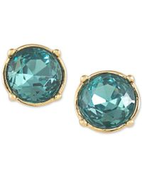 Carolee - Gold-tone Round Blue Crystal Stud Earrings - Lyst