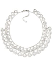 Carolee | Metallic Silver-tone Pavé Double Layer Crystal Collar Necklace | Lyst
