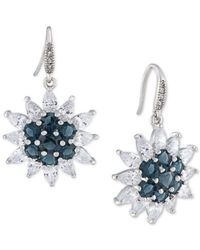 Carolee | Metallic Silver-tone Crystal Sunburst Drop Earrings | Lyst