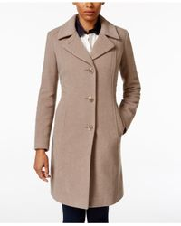 Anne Klein | Natural Wool-cashmere-blend Walker Coat, Only At Macy's | Lyst