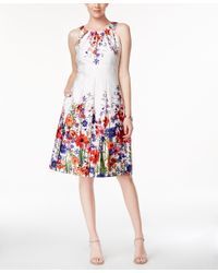 Nine West | Multicolor Floral-print Fit & Flare Dress | Lyst