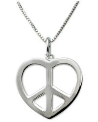 Giani Bernini - Metallic Heart Peace-sign Pendant Necklace In Sterling Silver - Lyst