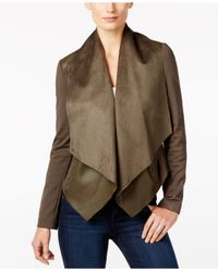 Kut From The Kloth   Multicolor Draped-front Faux-leather-trim Jacket   Lyst