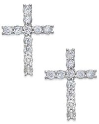 Macy's | Diamond Cross Stud Earrings (3/8 Ct. T.w.) In 14k White Gold | Lyst