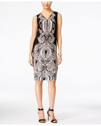 INC International Concepts | Black Petite Sleeveless Printed Zip-front Sheath Dress | Lyst
