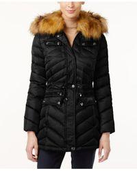 Laundry by Shelli Segal | Black Faux-fur-trim Hooded Puffer Coat | Lyst