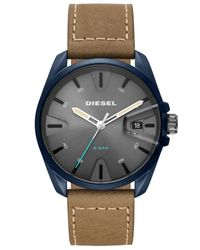 DIESEL Blue Ms9 Brown Leather Strap Watch 44mm for men
