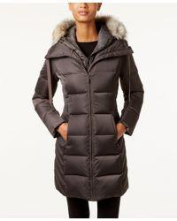 T Tahari | Gray Faux-fur-trim Hooded Puffer Coat | Lyst