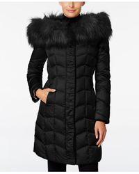 T Tahari   Black Faux-fur-trim Hooded Puffer Coat   Lyst
