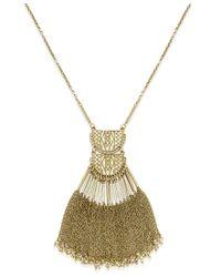 Macy's - Metallic Gold-tone Fringe Pendant Necklace - Lyst
