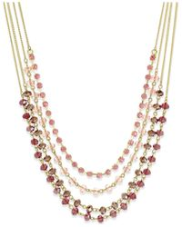 INC International Concepts | Pink Gold-tone Multi-row Beaded Necklace | Lyst