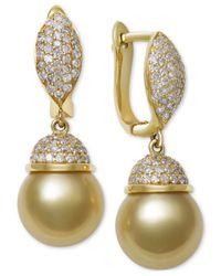 Macy's   Metallic Cultured Golden South Sea Pearl (9mm) And Diamond (5/8 Ct. T.w.) Drop Earrings In 14k Gold   Lyst