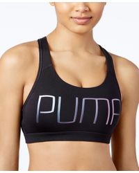 PUMA | Black Powershape Forever Gold Drycell Racerback Sports Bra | Lyst