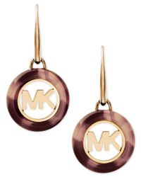 Michael Kors - Metallic Imitation Tortoiseshell Logo Disc Drop Earrings - Lyst