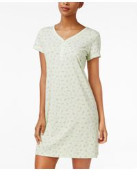 Charter Club Green V-neck Henley-style Sleepshirt, Only At Macy's
