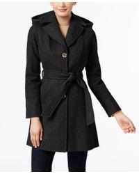 Michael Kors | Black Michael Petite Wool-blend Hooded Walker Coat | Lyst