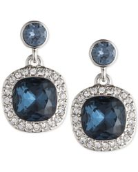 Givenchy | Metallic Silver-tone Dark Blue Crystal And Pave Drop Earrings | Lyst