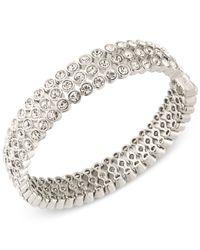 Carolee | Metallic Silver-tone Crystal Bangle Bracelet | Lyst