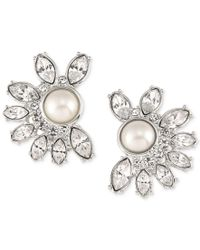 Carolee | Metallic Silver-tone Imitation Pearl And Crystal Crescent Stud Earrings | Lyst