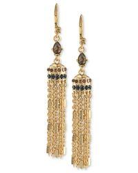 Carolee | Metallic Gold-tone Crystal Enhanced Tassel Drop Earrings | Lyst