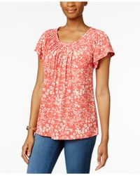 Style & Co. | Pink Printed Pleat-neck Top, Only At Macy's | Lyst