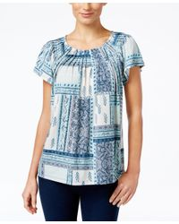 Style & Co. | Blue Printed Pleat-neck Top, Only At Macy's | Lyst