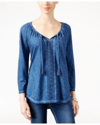 Style & Co. - Blue Lace-trim Peasant Top, Only At Macy's - Lyst