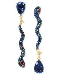 Betsey Johnson | Metallic Gold-tone Pave Snake And Blue Stone Mismatch Earrings | Lyst