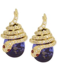 Betsey Johnson | Metallic Gold-tone Pave Snake Blue Stone Drop Earrings | Lyst