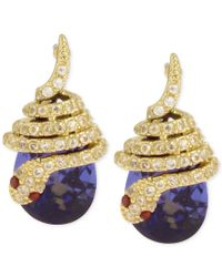 Betsey Johnson | Metallic Gold-tone Pave Snake Blue Stone Drop Earrings | Lyst