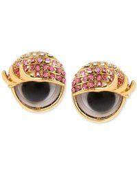 Betsey Johnson - Metallic Gold-tone Pink Pave Googly Eye Stud Earrings - Lyst