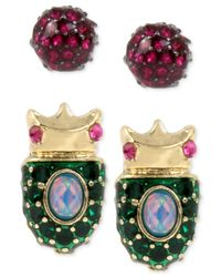 Betsey Johnson | Metallic Gold-tone 2-pc. Set Pavé Beetle And Pink Crystal Stud Earrings | Lyst