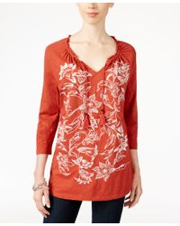 Style & Co. - Embroidered Peasant Top, Only At Macy's - Lyst