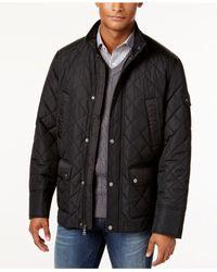 Sean John   Black Quilted Water-resistant Coat for Men   Lyst