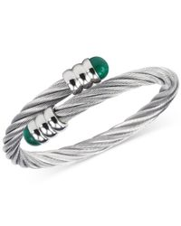 Charriol | Metallic Women's Celtic Malachite-accent Stainless Steel Cable Bangle Bracelet 04-01-1165-4 | Lyst