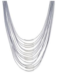 INC International Concepts - Metallic Silver-tone Multi-row Cord Necklace, Only At Macy's - Lyst