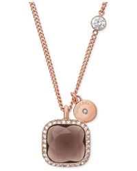 Michael Kors | Metallic Smoky Topaz And Crystal Pendant Necklace | Lyst