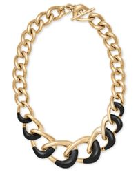 Michael Kors | Black Gold-tone Colorblocked Chain Collar Necklace | Lyst