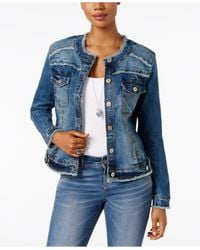 INC International Concepts | Blue Frayed Denim Jacket, Only At Macy's | Lyst