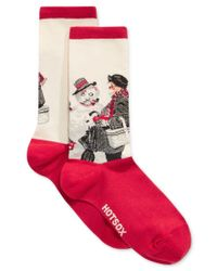Hot Sox   Red Women's Gramps And The Snowman Socks   Lyst