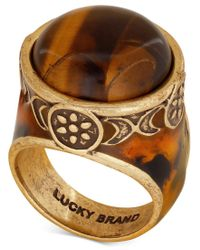 Lucky Brand - Metallic Gold-tone Decorative Tortoiseshell-look Statement Ring - Lyst