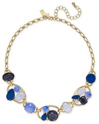 kate spade new york | Gold-tone Blue Stone Cluster Collar Necklace | Lyst