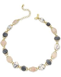 Kate Spade | Metallic Gold-tone Multi-stone Link Collar Necklace | Lyst