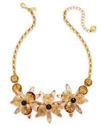 kate spade new york | Metallic Gold-tone Blue Crystal Flower Collar Necklace | Lyst