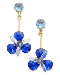 kate spade new york | Gold-tone Blue Crystal Drop Earrings | Lyst